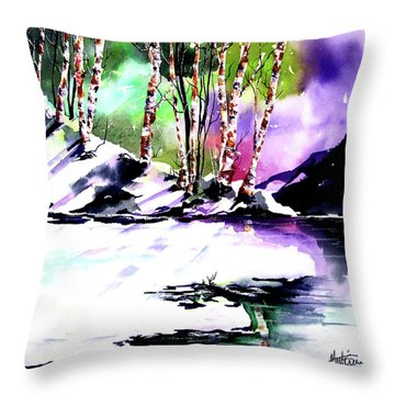 Throw Pillow featuring the painting Winter Mountain by Marti Green