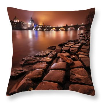 Winter Night Near Charles Bridge In Prague, Czech Republic Throw Pillow