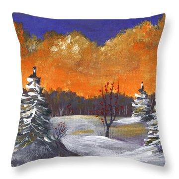 Throw Pillow featuring the painting Winter Nightfall #1 by Anastasiya Malakhova