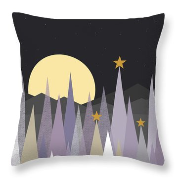 Throw Pillow featuring the digital art Winter Nights - Vertical by Val Arie