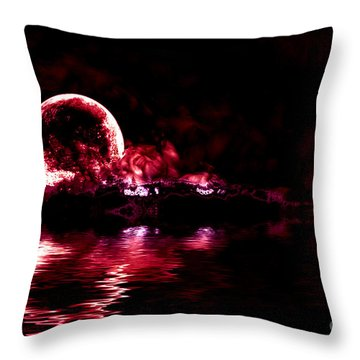 Winter Ocean Moonrise Throw Pillow