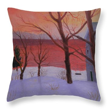 Winter Ocean Sunrise Throw Pillow