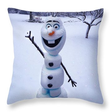Throw Pillow featuring the sculpture Winter Olaf by Doug Kreuger