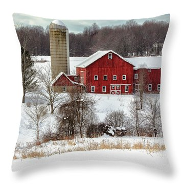 Winter On A Farm Throw Pillow