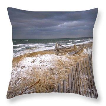 Winter On Cape Cod Sandy Neck Beach Throw Pillow