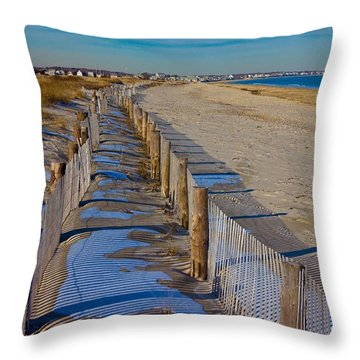 Winter On Duxbury Beach Throw Pillow