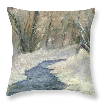 Throw Pillow featuring the painting Winter On Stormcreek by Gail Kirtz