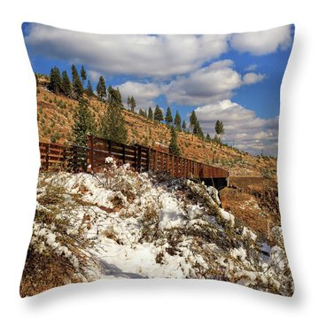 Winter On The Bizz Johnson Trail Throw Pillow by James Eddy