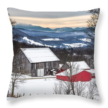 Winter On The Farm On The Hill Throw Pillow