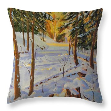 Winter On The Lane Throw Pillow by David Gilmore