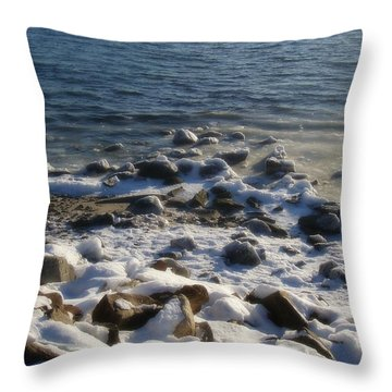 Throw Pillow featuring the photograph Winter On The Long Island Sound by Kristine Nora