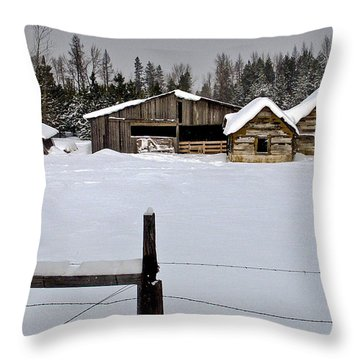Winter On The Ranch Throw Pillow