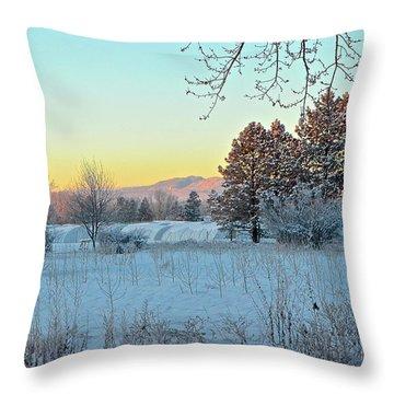 Winter On The Tree Farm Throw Pillow