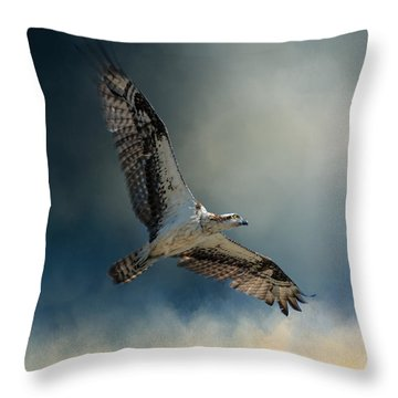 Winter Osprey Throw Pillow by Jai Johnson