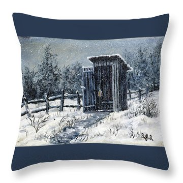 Winter Outhouse #2 Throw Pillow