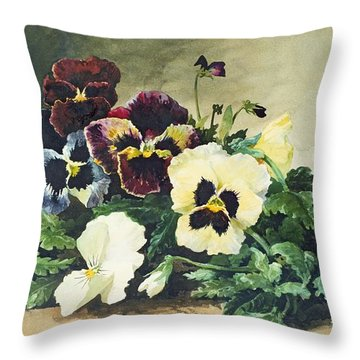 Winter Pansies Throw Pillow by Louis Bombled