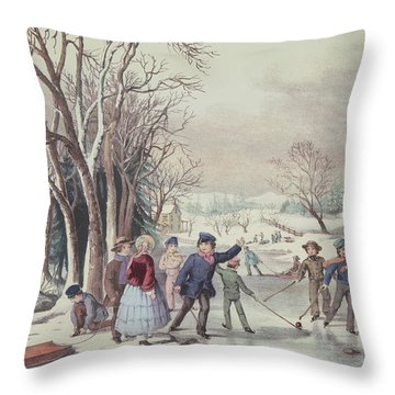 Winter Pastime Throw Pillow