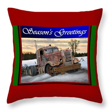 Throw Pillow featuring the digital art Winter Pete Season's Greetings by Stuart Swartz