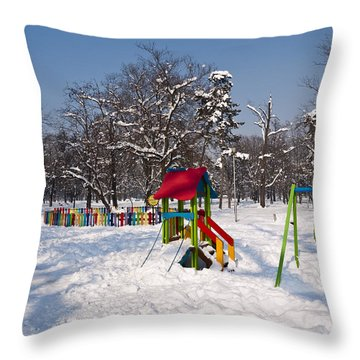 Winter Playground Throw Pillow by Rae Tucker