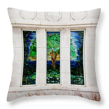 Winter Quarters Temple Tree Of Life Stained Glass Window Details Throw Pillow