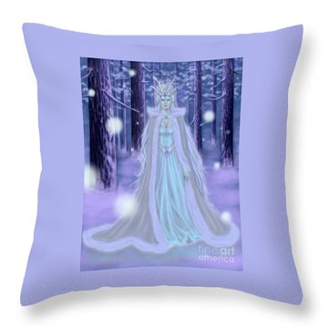 Winter Queen Throw Pillow by Amyla Silverflame