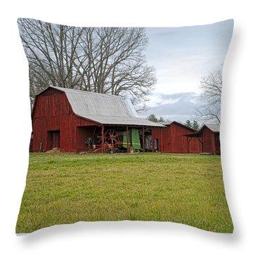 Winter Red Barn Throw Pillow