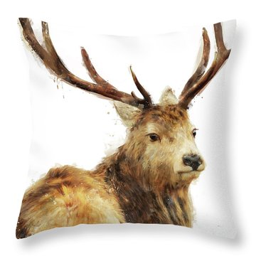 Winter Red Deer Throw Pillow by Amy Hamilton