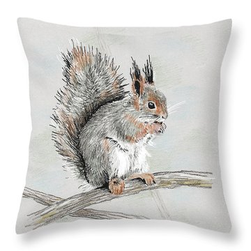 Winter Red Squirrel Throw Pillow