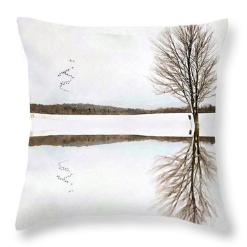 Throw Pillow featuring the digital art Winter Reflection by Sue Collura