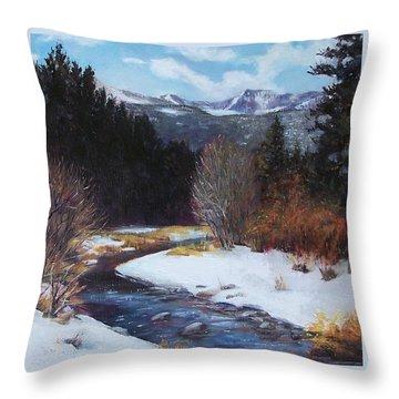 Winter River Bend Throw Pillow by Donna Munsch