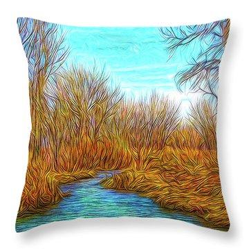 Winter River Breeze Throw Pillow