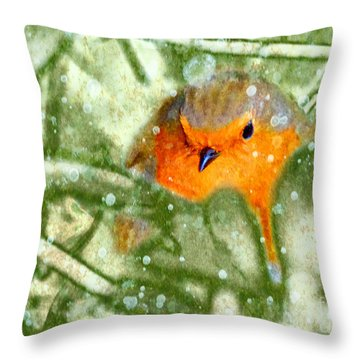 Winter Robin Throw Pillow