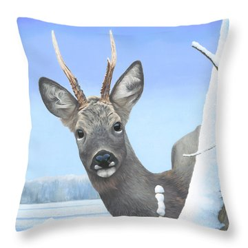 Winter Roebuck Throw Pillow by Clive Meredith
