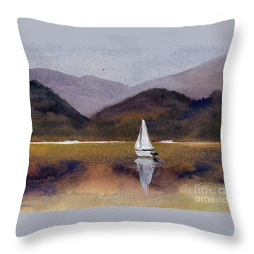 Winter Sailing At Our Island Throw Pillow