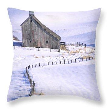 Winter Salt Barn Throw Pillow