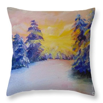 Throw Pillow featuring the painting Winter by Saundra Johnson