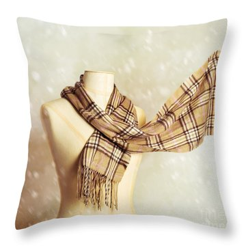 Winter Scarf Throw Pillow