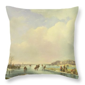 Winter Scene Throw Pillow by Andreas Schelfhout