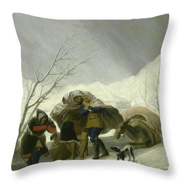 Winter Scene Throw Pillow by Goya