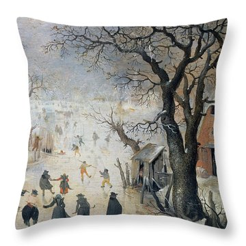 Winter Scene Throw Pillow by Hendrik Avercamp