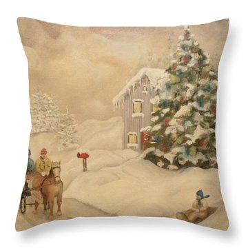 Winter Scene Throw Pillow by John Stuart Webbstock