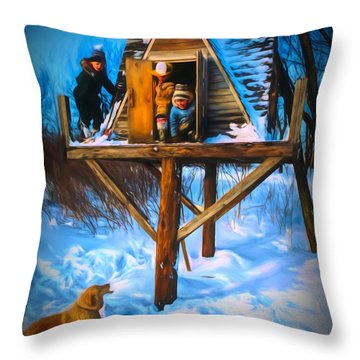 Winter Scene Three Kids And Dog Playing In A Treehouse Throw Pillow
