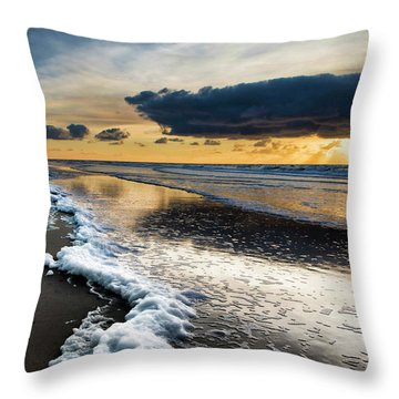 Winter Sea Sunset Throw Pillow