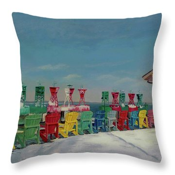 Throw Pillow featuring the painting Winter Sentries by Lynne Reichhart