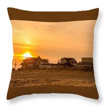 Winter Shore Sunset Throw Pillow