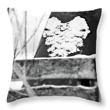 Winter Snow Heart Throw Pillow