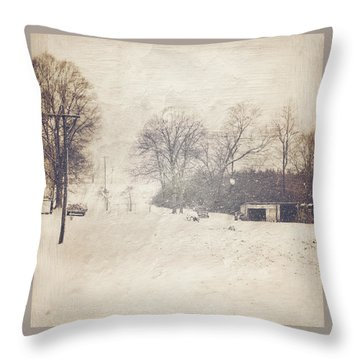Winter Snow Storm At The Farm Throw Pillow