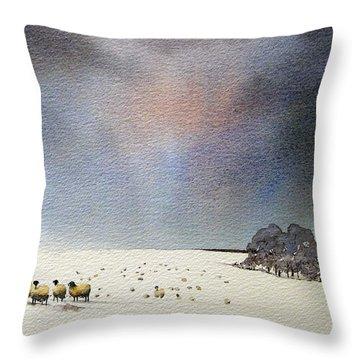 Winter Snow Swaledale Throw Pillow by Paul Dene Marlor