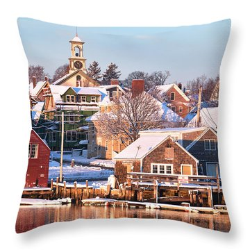 Winter Snowfall In Portsmouth Throw Pillow