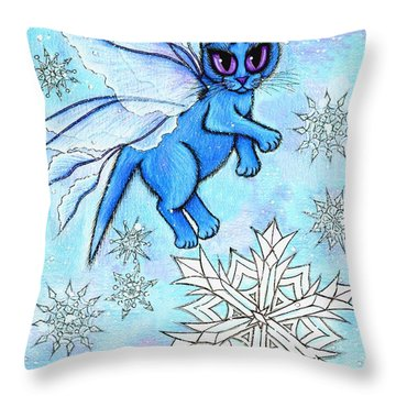 Winter Snowflake Fairy Cat Throw Pillow